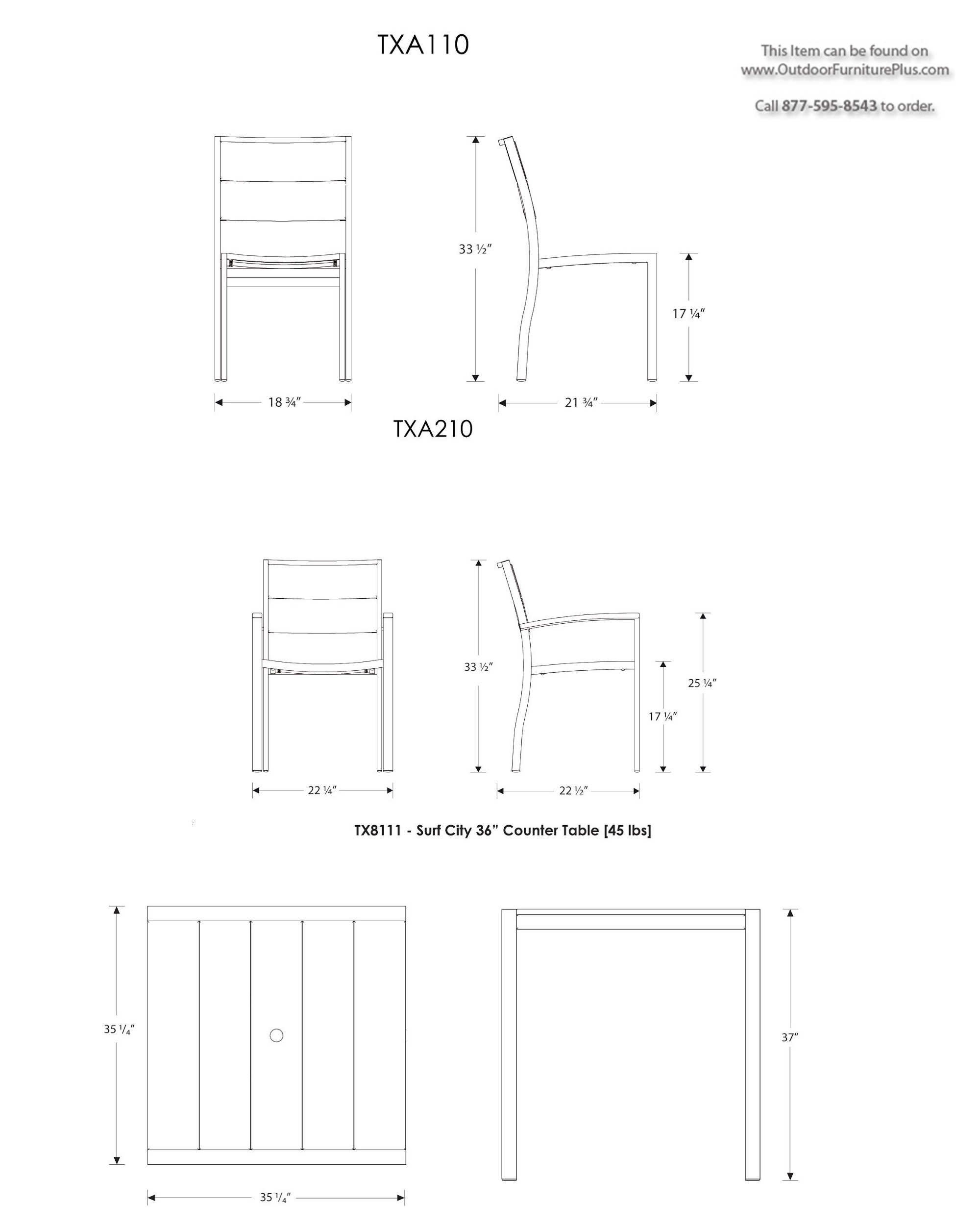 Trex Surf City Dining Set 36 X 36 4 Chairs
