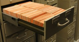 One of the many filing cabinets filled with birth and death records.