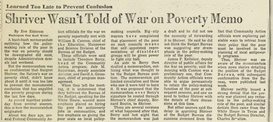 """Shriver Wasn't Told of War On Poverty Memo"""