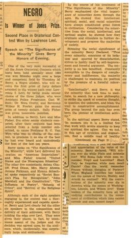 """Newspaper Article - """"Negro is Winner of Jones Prize"""""""