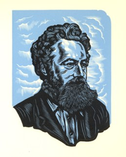 A wood-engraved portrait of Morris by John Depol, from the book William Morris Master-Printer by Frank Colebrook