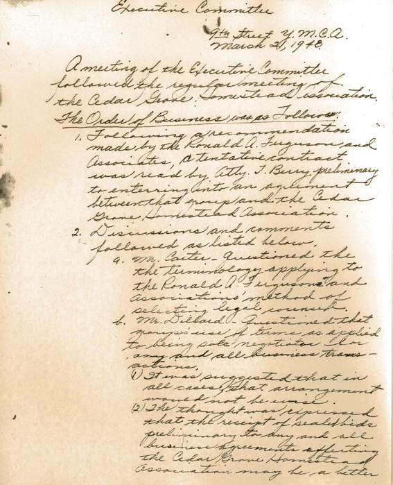 Minutes of Executive Committee of Cedar Grove Homestead Association, March 2, 1948