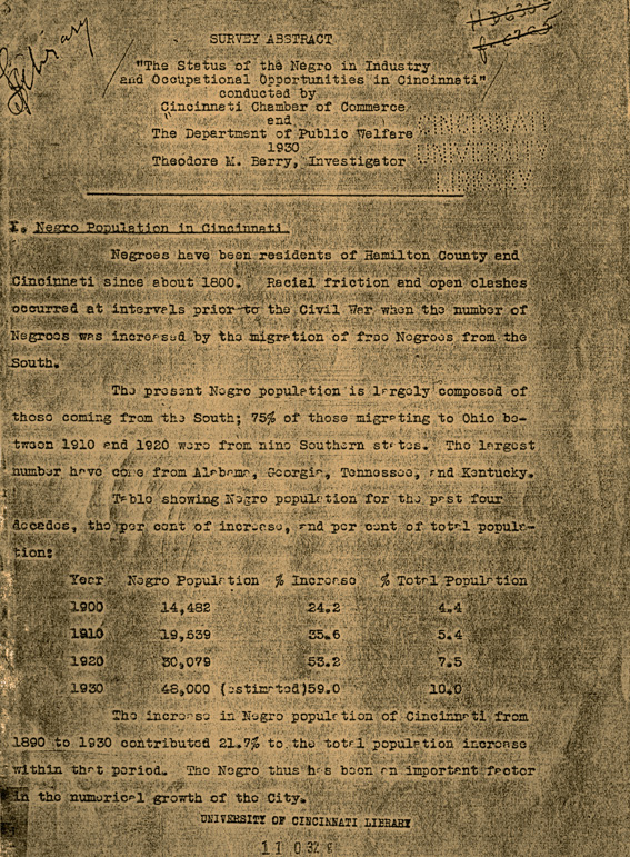 """Abstract of Survey - """"The Status of the Negro in Industry and Occupational Opportunities in Cincinnati."""