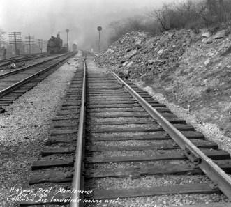 Landslide along railroad tracks