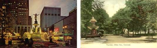 Postcards showing fountains