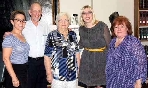 From left to right: Susanne Carney, Dr. Charles Rich, Frances Clare, Veronica Buchanan, Doris Haag