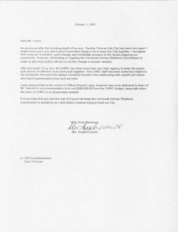 Angela Leisure letter
