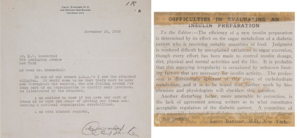 Letter to Dr Mosenthal from Dr. Striker