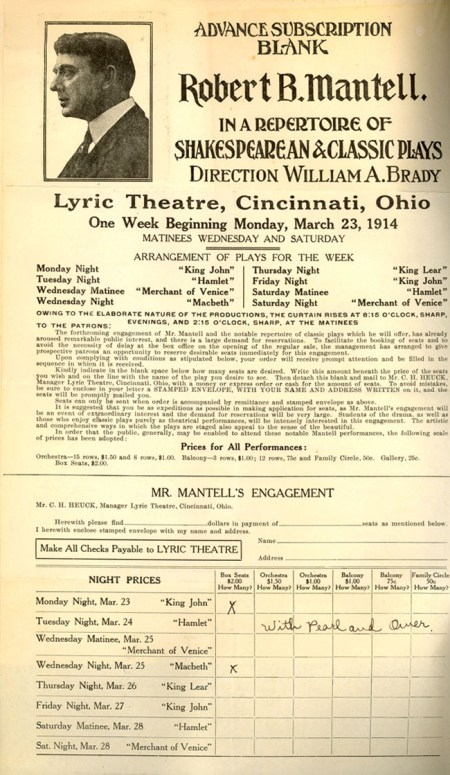 Subscription for the Series at the Lyric Theatre