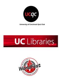 Logos of UC Quiz Club, UC Libraries, and UC WorldFest