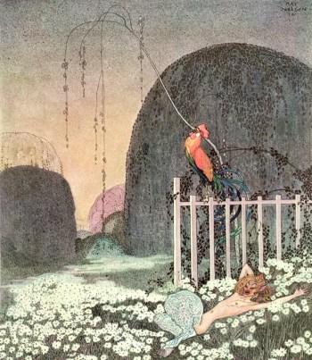 Gardner in the garden with rooster