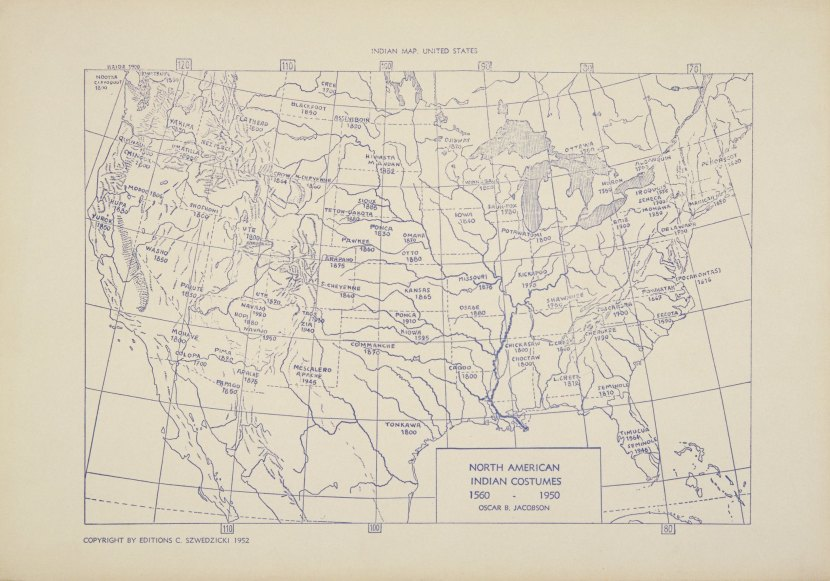 Map of Native American Tribes from the C. Szwedzicki Collection