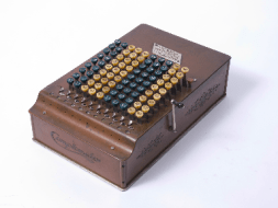 """Comptometer"" hand-cranked mechanical calculator."