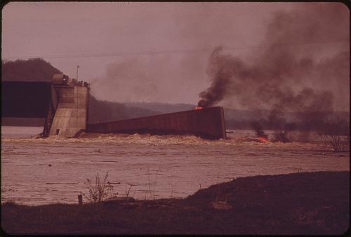 Burning Barge on the Ohio River