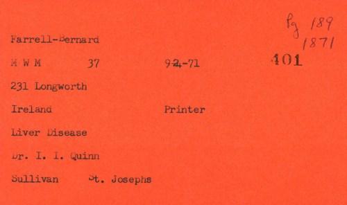 Death Certificate of an Irish Printer