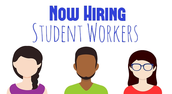 Now Hiring Student Workers with 3 people icons
