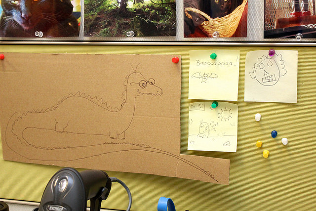 Doodles on bulletin board.