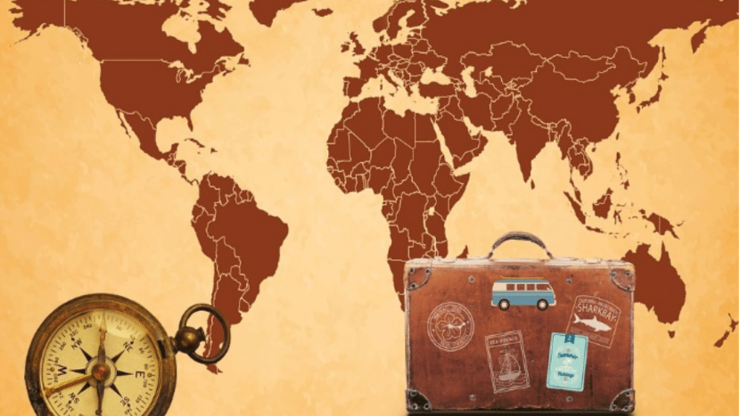 photo of a map and suitcase
