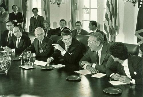 Photo of Reagan at meeting