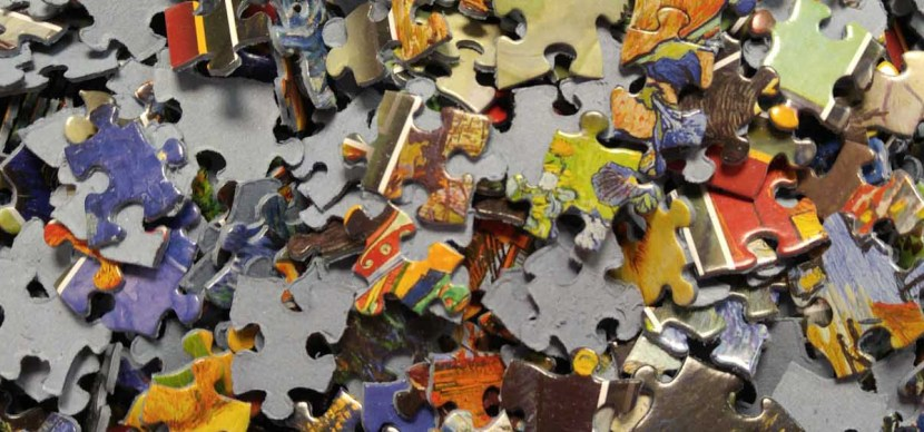 Colorful puzzle pieces jumbled