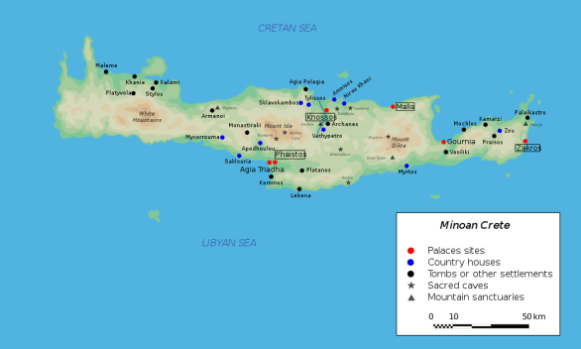 Map of Minoan Crete (c. 2700-1400 BCE)