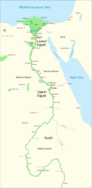 Map of Ancient Egypt (c. 3100-30 BCE)