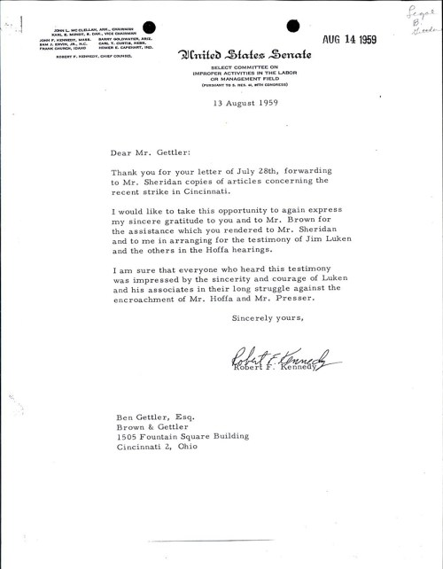 Letter from Robert F. Kennedy to Benjamin Gettler regarding the Hoffa case