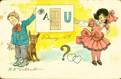 "Postcard with a girl and boy and the words ""I adore you"""