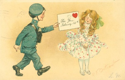 A boy in uniform giving a girl a Valentine's card
