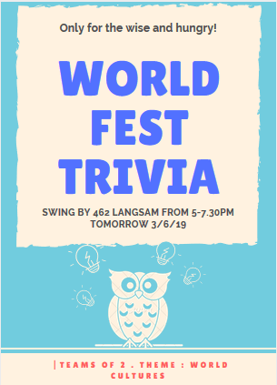 WordFest trivia night fposter