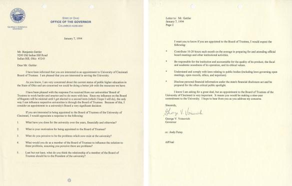 Letter from Governor Voinovich to Benjamin Gettler