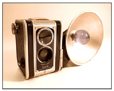A circa 1948 Kodak Duaflex Camera with flash attachment made by the Eastman Kodak Company of Rochester, NY.