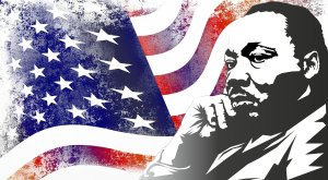 Martin Luther King in front of US flag