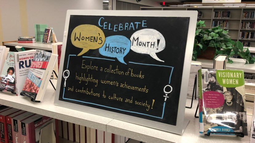 women's history month display at UCBA Library