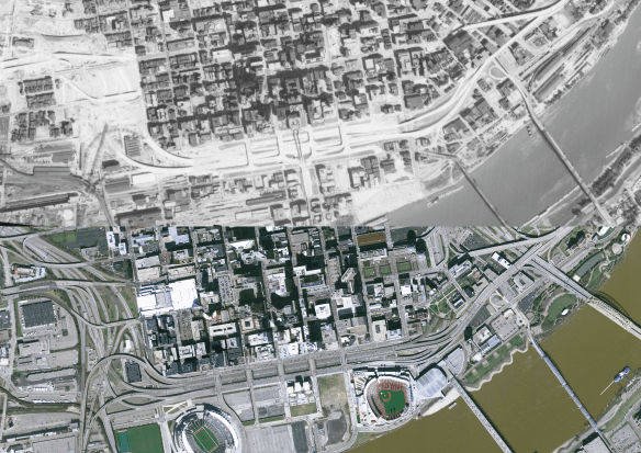side by side aerial imagery of downtown Cincinnati and the riverfront from 1962 and from 2007