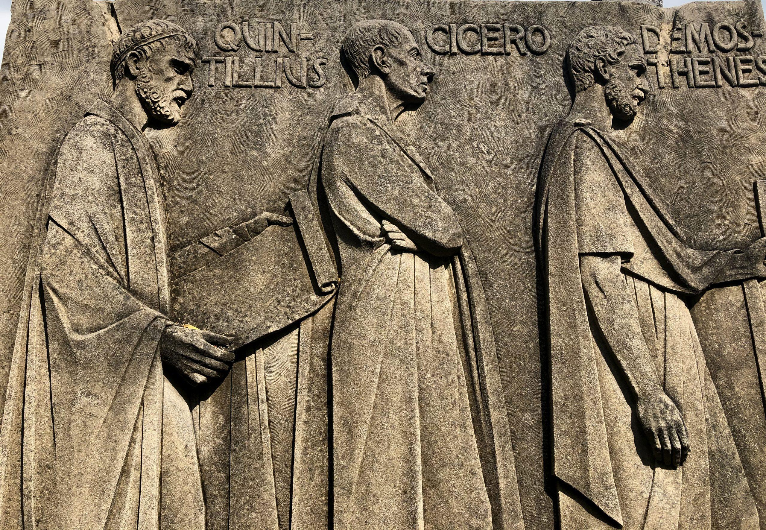 fishwick relief with quintillius, cicero and demosthenes