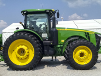 Photo of a John Deere tractor on display at the Farm Progress Show in Decatur, Illinois in 2015.