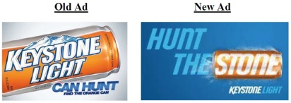 Stone v. MillerCoors Old can and New Keystone Can Ad from Millercoors Answer and counterclaims