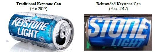 Stone v. MillerCoors Old can and New Keystone Can from Motion for Preliminary Injunction