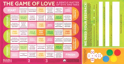 This piece was developed as a print piece for the back of the program I designed for the CSUN Tomorrowland show. I have had a few different ideas for the Game of Love, so I decided to send out a prototype for user testing by volunteers.