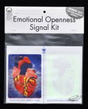 The Emotional Openness Signal Kit is designed so that the user may easily improvise his/her own means of communicating the onset of a moment of unguardedness. The signs, once separated, can be used by day (4 color version) or by night (phosphorescent version). Pins are provided to pin the signals to clothing if need be.