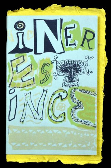 A zine, with multicolor screen print cover and handmade paper accent, 2000
