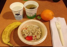 Oatmeal, fruit, and tea