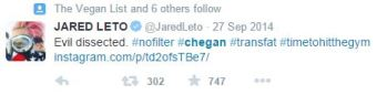 Jerod Leto tweets about being chegan as he's eating cake.