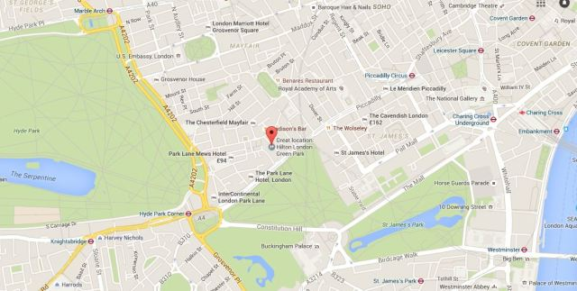 Google Map showing Hilton London Green Park