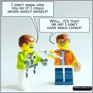 Lego men inject insulin