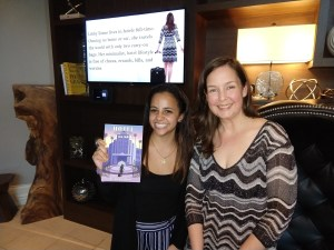 Alyssa and Libby with Hotel Sweet Home book