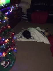 T and his faithful dog asleep under the Christmas tree with every light switched on.