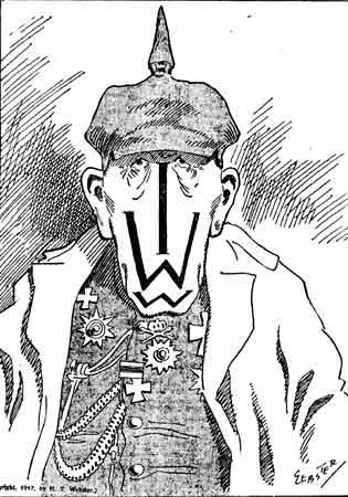 Cartoon from the New York Globe during World War I, trying to portray anti-war Wobblies as linked to the German Kaiser [15