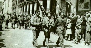 Partisans parade in Milan following the Liberation, 1945